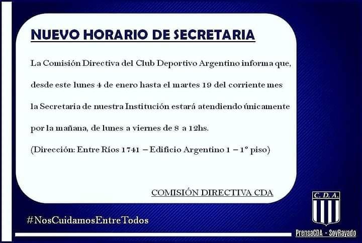 HORARIO DE VERANO EN LA SECRETARÍA DEL RAYA
