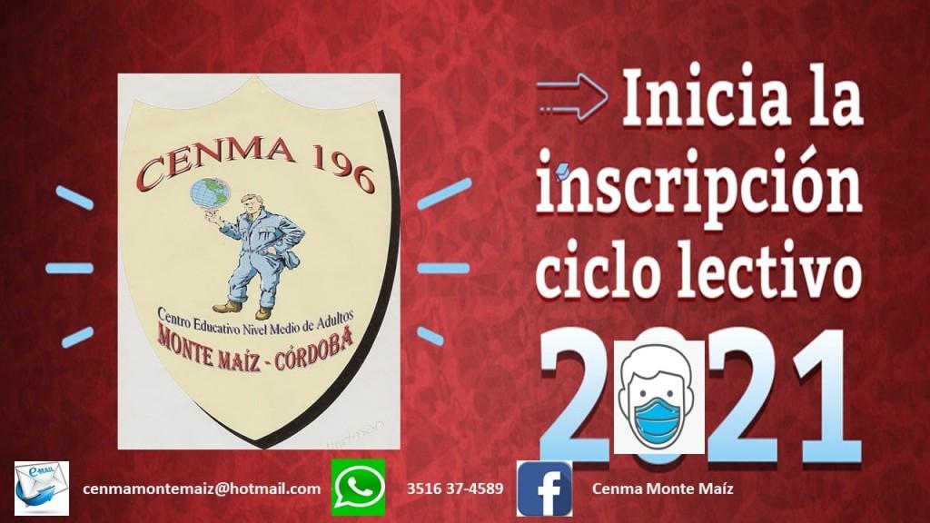 CENMA N° 196: INSCRIPCIPON CICLO LECTIVO 2021