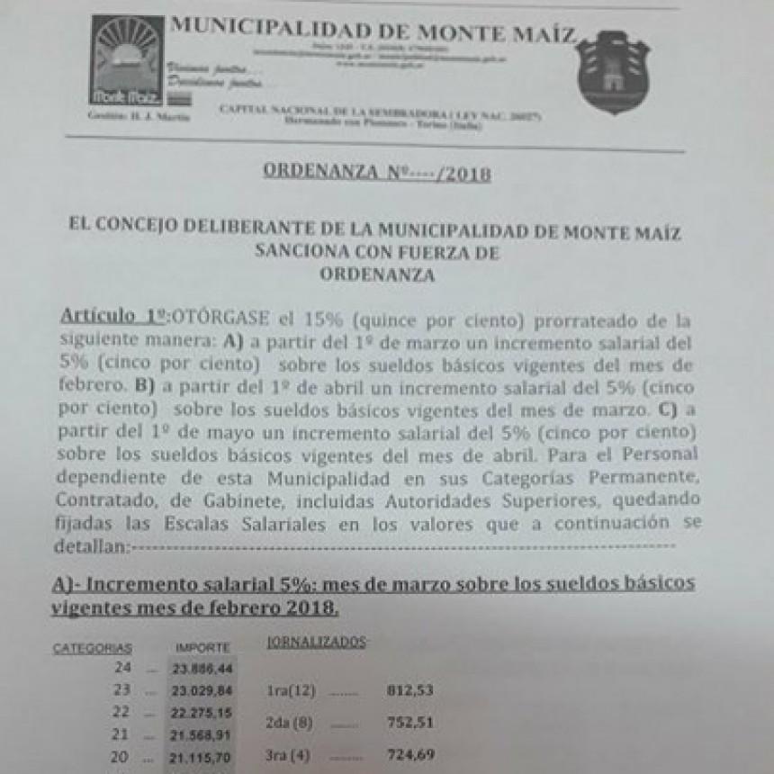 AUMENTO SALARIAL PARA EMPLEADOS MUNICIPALES