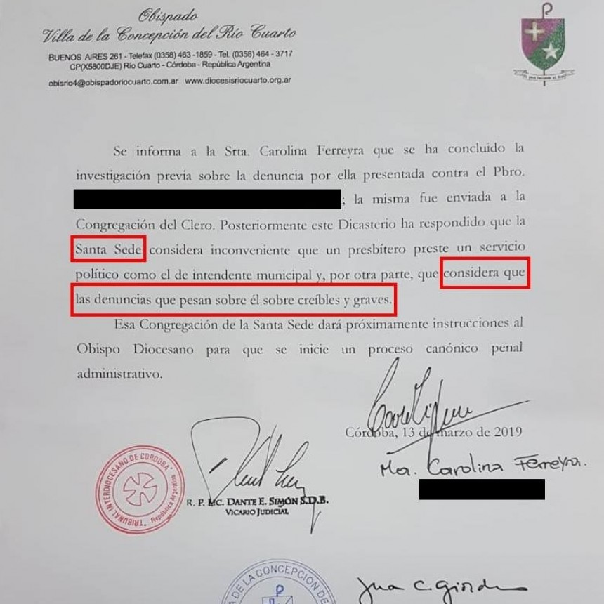 SANTA SEDE: APOYA DENUNCIA DE CAROLINA FERREYRA