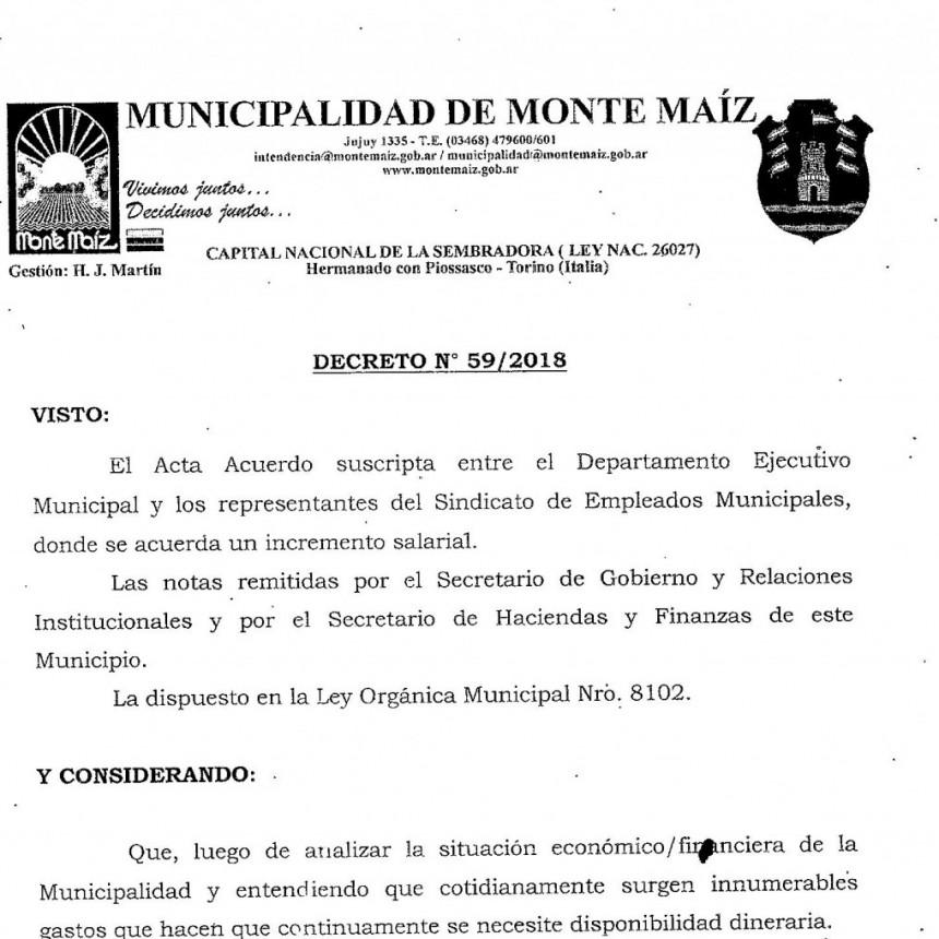 EL EJECUTIVO MUNICIPAL RENUNCIÓ AL AUMENTO DEL 15%