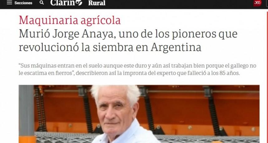 RECONOCIMIENTO A JORGE ANAYA EN EL DIARIO CLARÍN