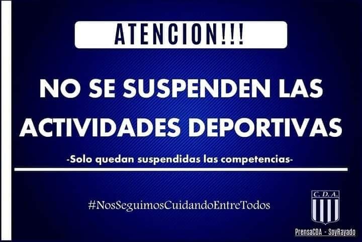 ARGENTINO: NO SE SUSPENDEN ACTIVIDADES DEPORTIVAS