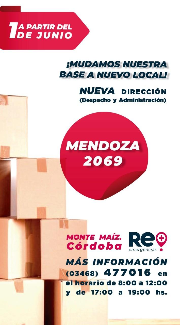 RE EMERGENCIAS SE MUDA A CALLE MENDOZA AL 2000