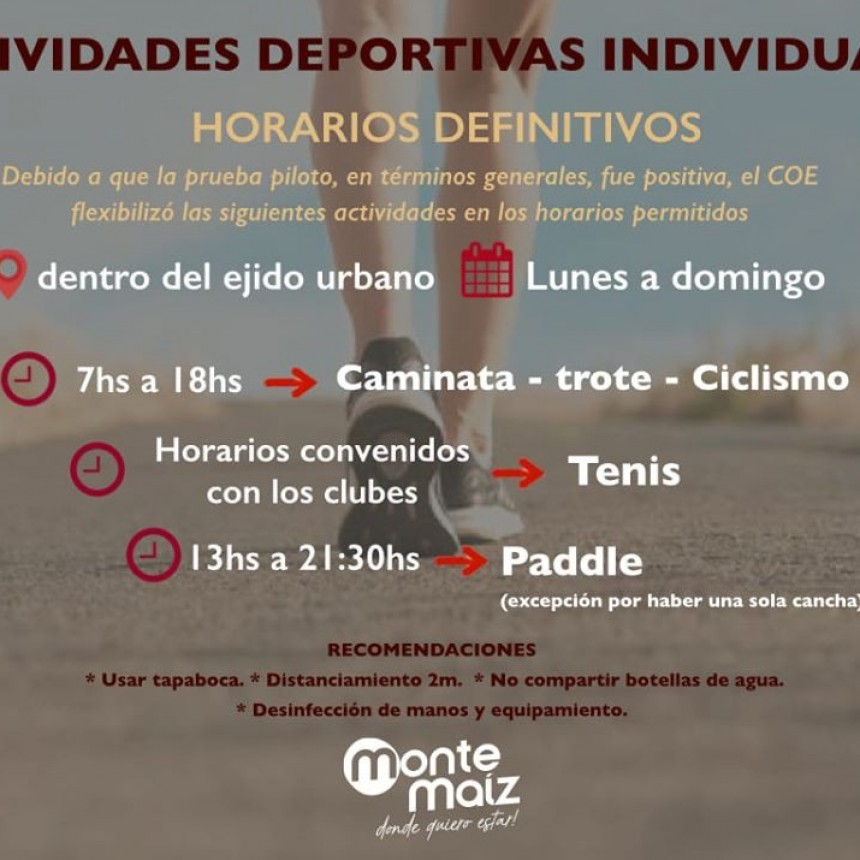 ACTIVIDADES DEPORTIVAS: PRUEBA PILOTO POSITIVA