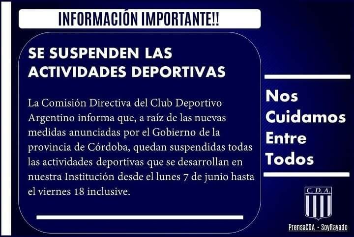 ARGENTINO SUSPENDIÓ LAS ACTIVIDADES DEPORTIVA