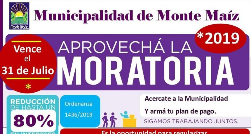 PRÓRROGA DE LA MORATORIA MUNICIPAL