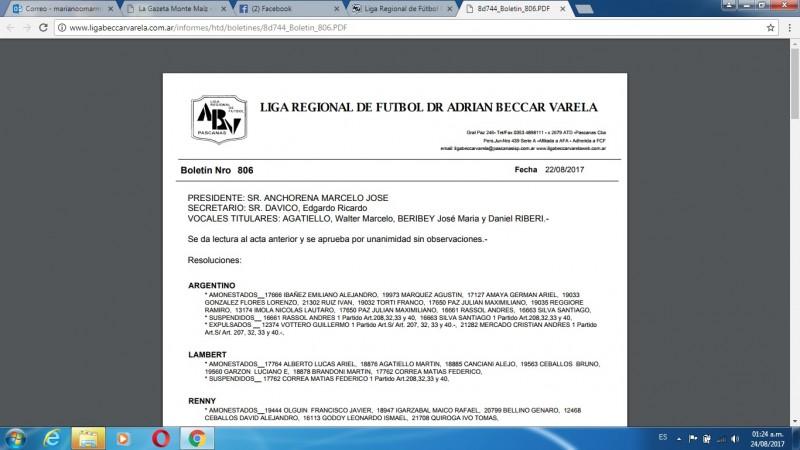 BOLETÍN DE LA LIGA DR. ADRIÁN BÉCCAR VARELA