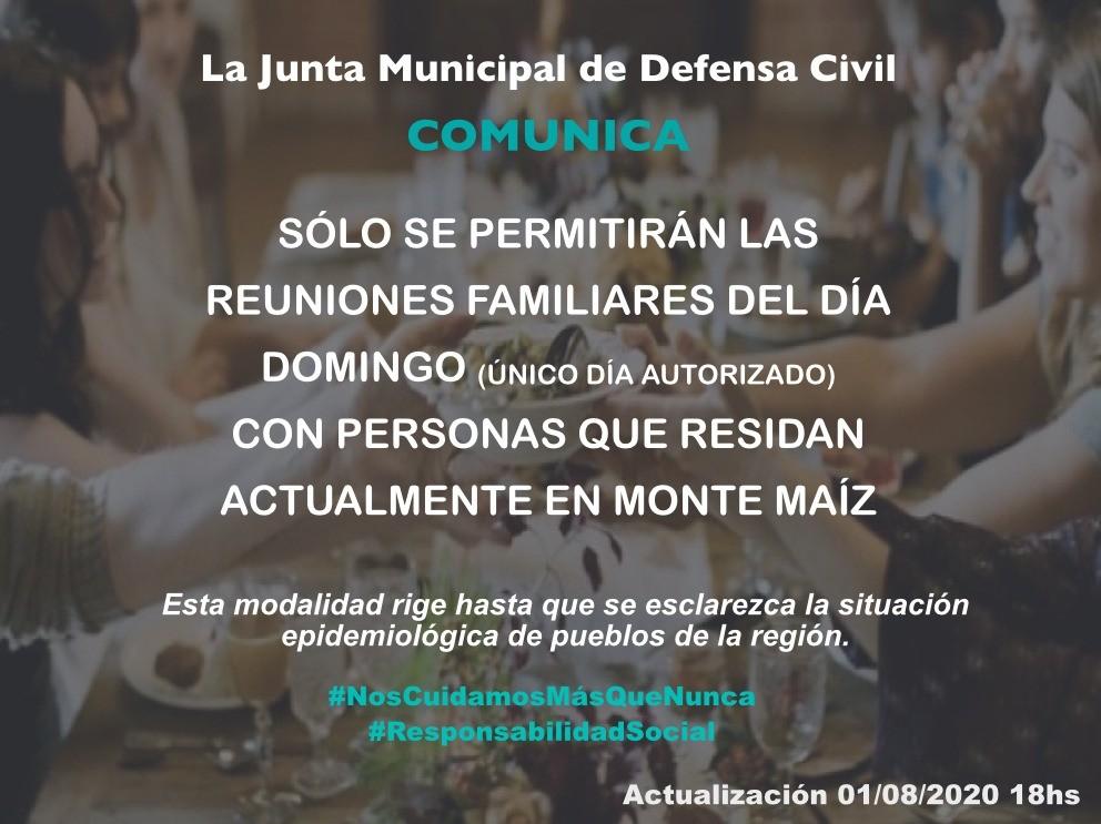 REUNIONES FAMILIARES HABILITADAS SOLO LOS DOMINGOS