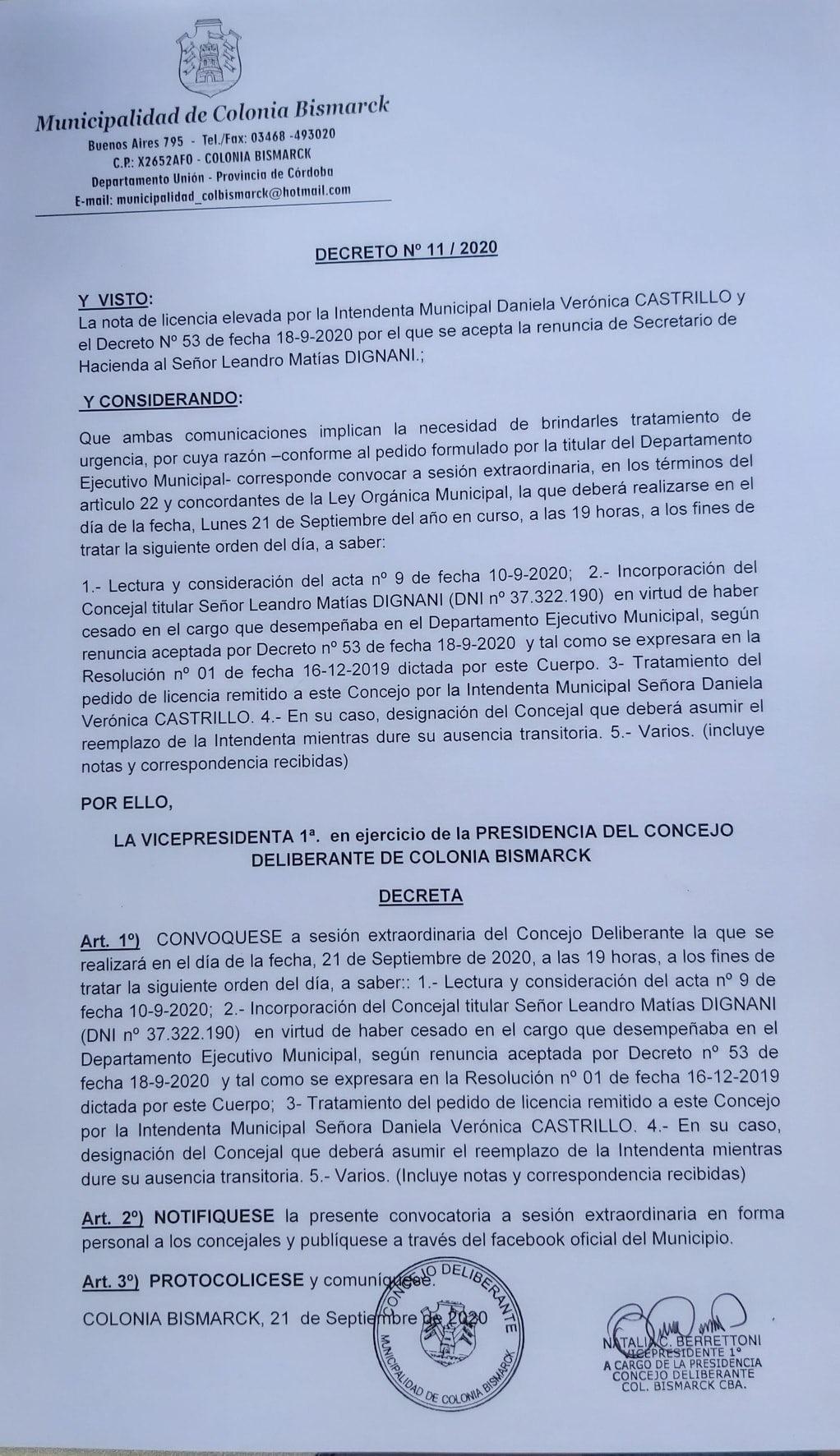 INTENDENTA DE COLONIA BISMARCK INTERNADA EN CÓRDOBA
