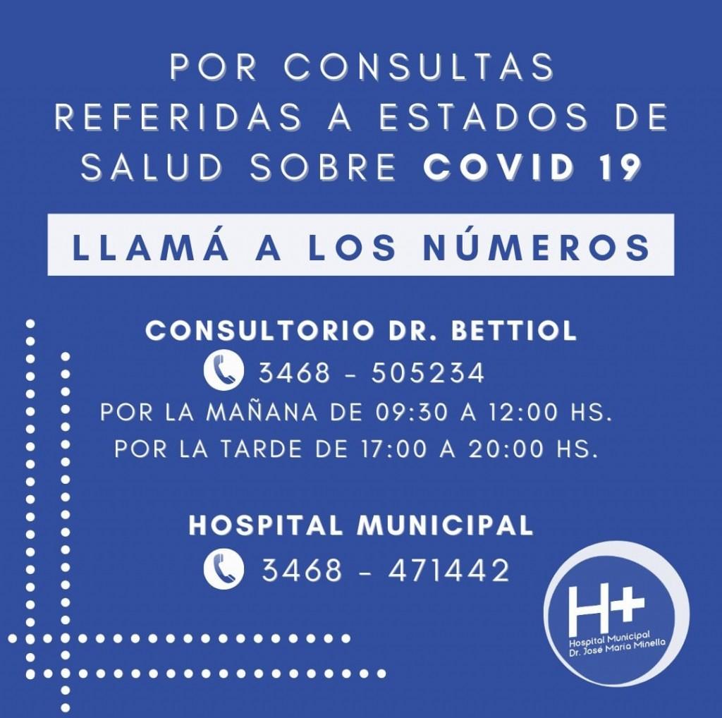 BETTIOL ATENDERÁ CONSULTAS TELEFÓNICAS POR COVID-19