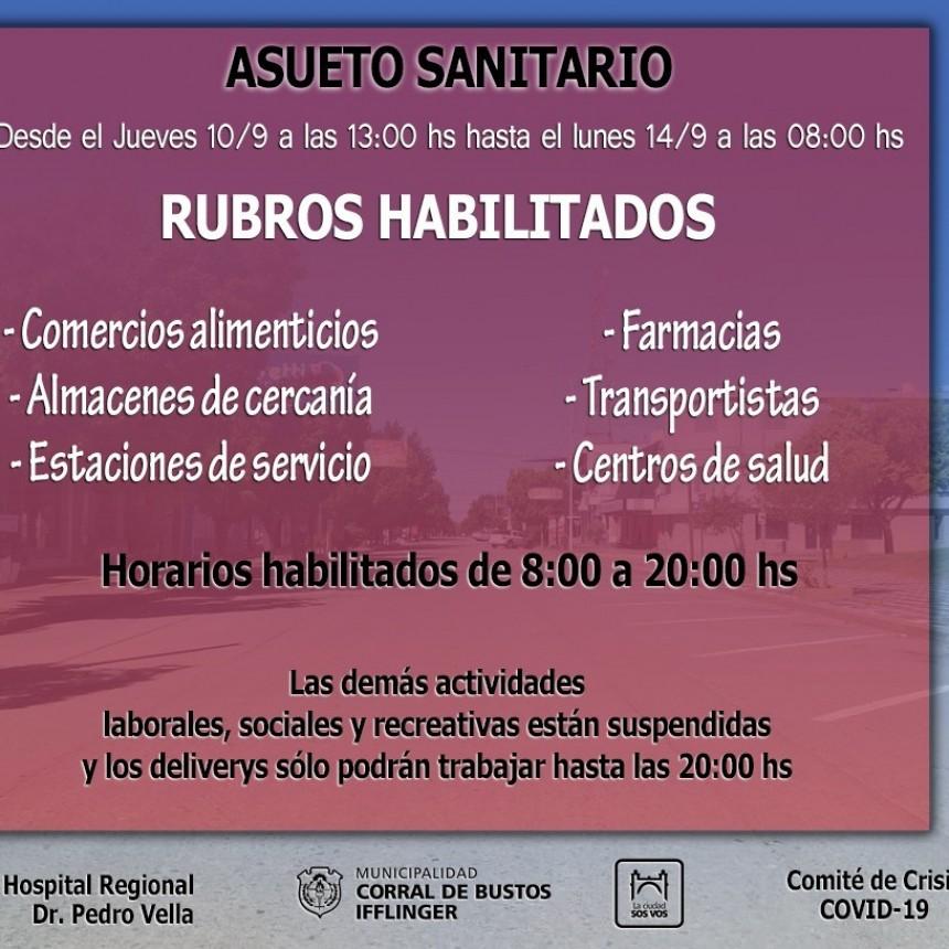 ASUETO SANITARIO HASTA EL LUNES EN CORRAL DE BUSTOS
