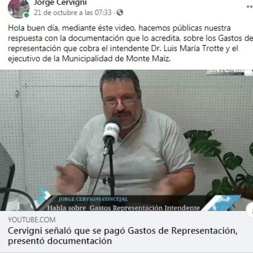EL INTENDENTE NO COBRA GASTOS DE REPRESENTACIÓN