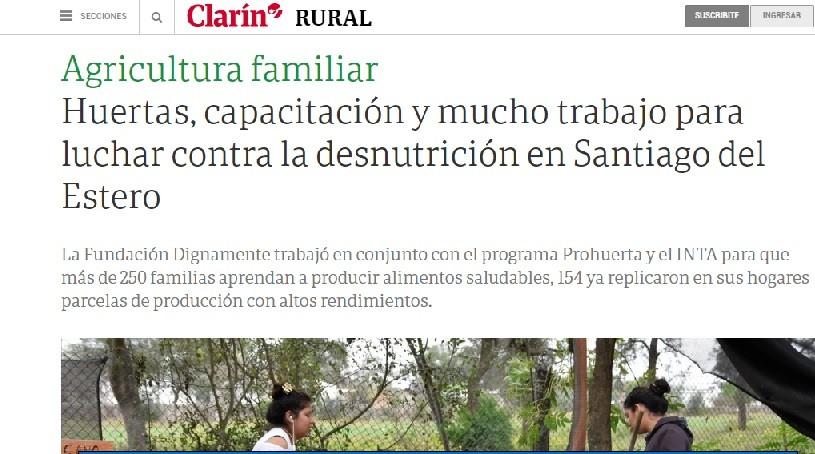 CLARÍN DESTACÓ EL TRABAJO DE LA ONG DIGNAMENTE
