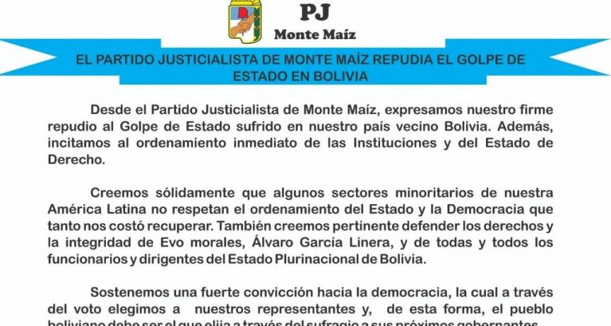EL PJ LOCAL REPUDIA EL GOLPE DE ESTADO EN BOLIVIA