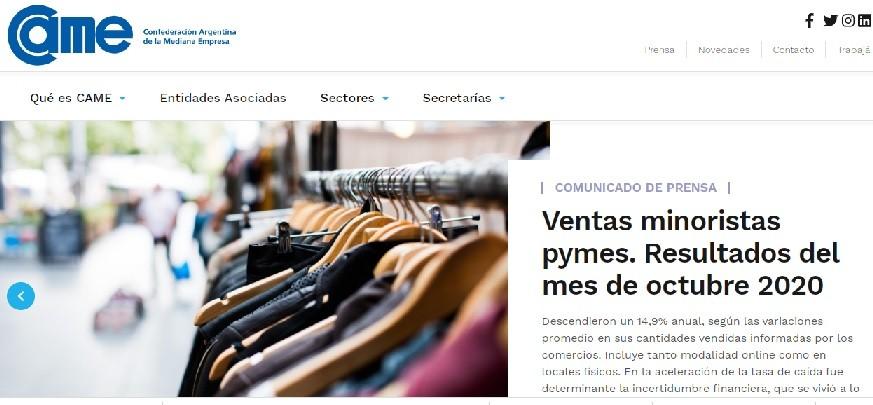 VENTAS MINORISTAS CAYERON 14,9% INTERANUAL