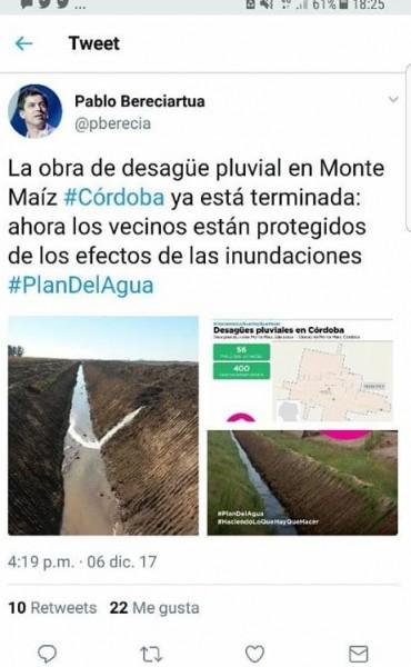 EL GOBIERNO NACIONAL SE ADJUDICA UNA OBRA QUE NO HIZO EN MONTE MAÍZ